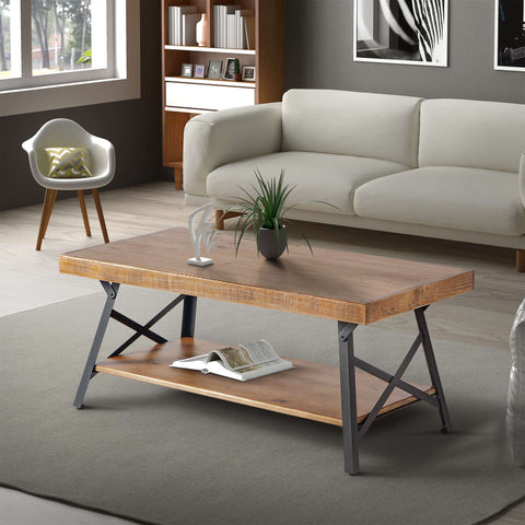 U_STYLE 43'' Metal Legs Rustic Coffee Table, Solid Wood Tabletop
