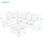 3 Piece Sectional Sofa Microfiber with Reversible Chaise Lounge Storage Ottoman and Cup Holders (Brown)