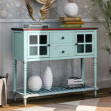 Sideboard Console Table with Bottom Shelf, Farmhouse Wood/Glass Buffet Storage Cabinet Living Room (Retro Blue)