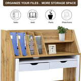 Versatile Home Office Desk, Rolling Computer Desk With Storage Shelves, White/Wood Color