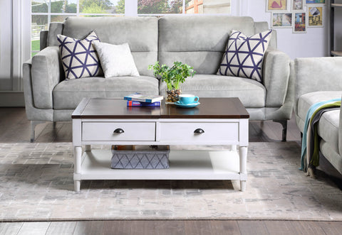 Coffee Table Lift Top Wood Home Living Room , with 1 Drawer and Shelf,White and Brown