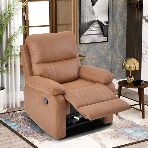 Recliner Chair with Padded Seat - Faux Leather Home Theater Seating - Manual Bedroom & Living Room Chair Reclining Sofa