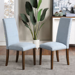 Upholstered Dining Chairs - Dining Chairs Set of 2 Fabric Dining Chairs with Copper Nails and Solid Wood Legs