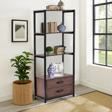 Home office 4-Tier Bookshelf, Simple Industrial Bookcase Standing Shelf Unit Storage Organizer with 4 open storage shelves and two drawers,Brown