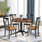 5 Pieces Dining Table and Chairs Set for 4 Persons, Kitchen Room Solid Wood Table with 4 Chairs
