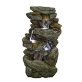 Outdoor 5-Tier Floor Rack Water Fall Fountain with White LED Light for Patio Yard Garden Lawn-40.15""