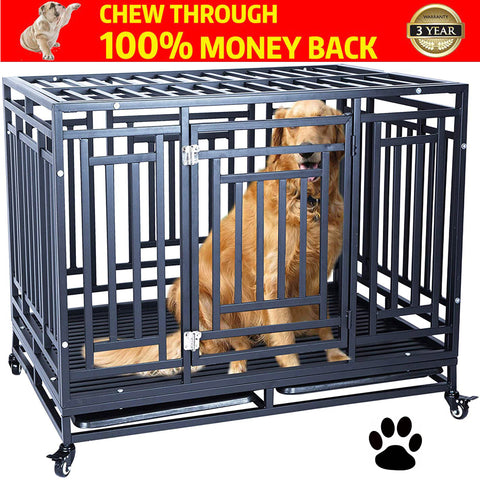 Heavy Duty Dog Crate Cage Kennel Strong Metal Frame Kennel Durable Indoor & Outdoor Kennel for Large Dogs, Easy to Assemble and Move with Four Wheels
