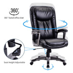 Homeoffice High-Back PU Leather Chair with Casters, Swivel, Adjustable Office Desk Chair, Black