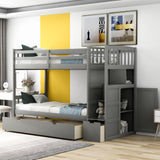 Twin Over Full/Twin Bunk Bed, Convertible Bottom Bed, Storage Shelves and Drawers, Gray(New)