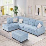 3 Piece Sectional Sofa Microfiber with Chaise Lounge Storage Ottoman and Cup Holders