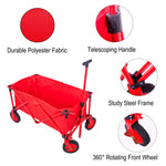 Folding Collapsible Utility Wagon Organizer with Telescoping Handle Big 7 inches Wheel for Sports Camping( Red)