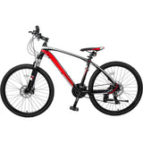 "26"" Aluminum Mountain Bike 24 Speed Mountain Bicycle with Suspension Fork (Black & Red)"
