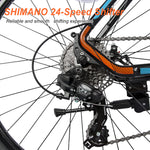 "26"" Aluminum Mountain Bike 24 Speed Mountain Bicycle with Suspension Fork (Blue & Orange)"