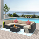 Outdoor Furniture 7 Pcs Sets,PE Rattan Morden Wicker,sectional with 2 Pillows