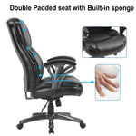 HomeOffice Big and Tall PU Leather Office Chair/ Ergonomic Computer Chair High Back PU Executive Chair,Black