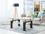 Rectangle Glass Coffee Table, Clear Coffee Table,Modern Side Center Tables for Living Room, Living Room Furniture