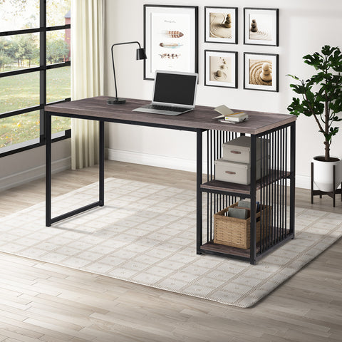 Home Office Computer Desk, 55 Inch Writing Desk with 2 Storage Shelves on Left or Right, Stable Metal Frame, Easy Assembly (Brown)