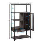 Home Office Bookcase and Bookshelf 5 Tier Display Shelf with Doors and Drawers, Freestanding Multifunctional Decorative Storage Shelving, Vintage Brown Industrial Style(Brown)