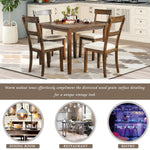TREXM 5 Piece Dining Table Set Industrial Wooden Kitchen Table and 4 Chairs for Dining Room (American Walnut)