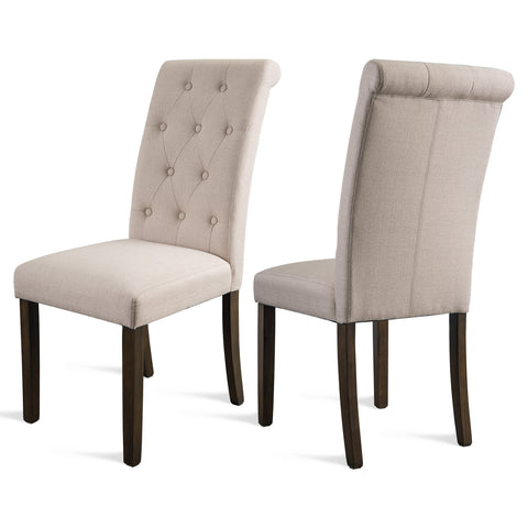 ORIS FUR. Aristocratic Style Dining Chair Noble and Elegant Solid Wood Tufted Dining Chair Dining Room Set (Set of 2)