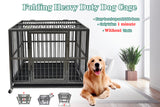 43'' Heavy Duty Dog Cage Strong Folding Metal Crate Kennel and Playpen for Medium and Large Dogs with Double Door