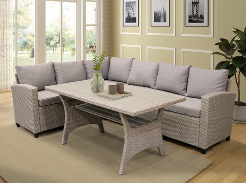 Patio Dining Table Set Outdoor Furniture PE Rattan Wicker Conversation Set All-Weather Sectional Sofa Set with Table & Soft Cushions