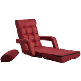 Folding Lazy Sofa Floor Chair Sofa Lounger Bed with Armrests and a Pillow