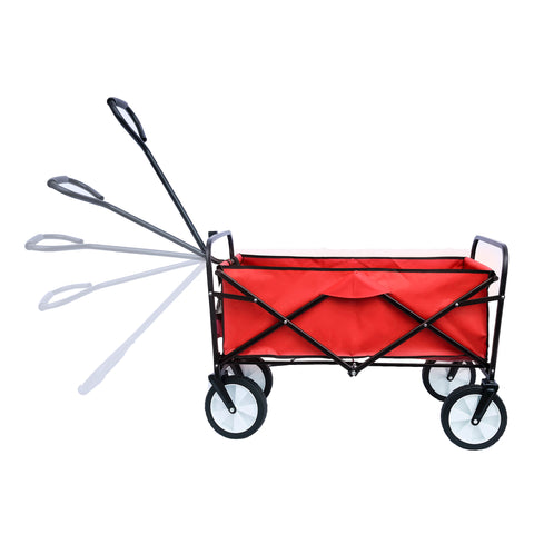 Folding Wagon Garden Shopping Beach Cart (Red)