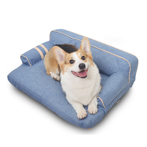 (PATENTED PRODUCT, DEALERSHIP CERTIFICATE NEEDED) Wickman Dual-use Pet Sofa with built-in elevated platform base, Machine Wash & Dryer Friendly, removable cloth cover (Sky Blue)