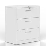 Lateral File Cabinet Lockable Metal Heavy Duty 3 Drawer Lateral File Cabinet (White)