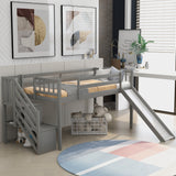 Twin Size Low Loft Bed with Adjustable Slide and Staircase, Gray(New)