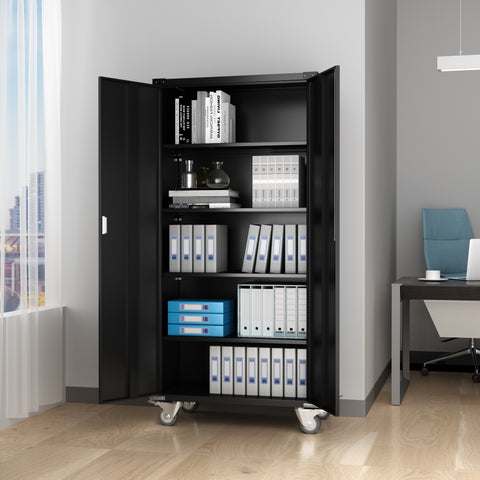 Home Office Steel Storage Cabinet Rolling Storage with 4 Adjustable Shelves and Lock for Garage, Office, Kitchen
