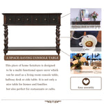 Rustic Console Sofa Table Antique-inspired Design with two Exquisite Drawers and Bottom Shelf for Living Room (Black)