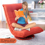 Orisfur. 360 Degree Swivel Folded Video Game Chair Floor Lazy Man Sofa Chair (Orange Red)