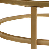 U_STYLE Crest Nesting Round 2 Piece Coffee Table Set, Elegant, mid-century modern design, Glass