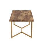 U_STYLE Mid Century Modern Rectangle Wooden Coffee Table, Stylish Y-leg base, Available in 7 colors, Marble & Wood
