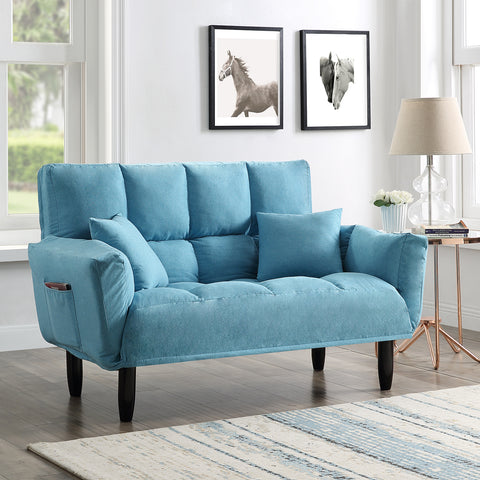 U_STYLE Modern Round Arm Tufted Sleeper Sofa with Solid Wood Legs