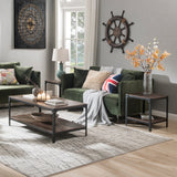 U_STYLE Industrial Coffee Table for Living Room, with Storage Shelf, Rivet Design, Wood Look Accent Furniture