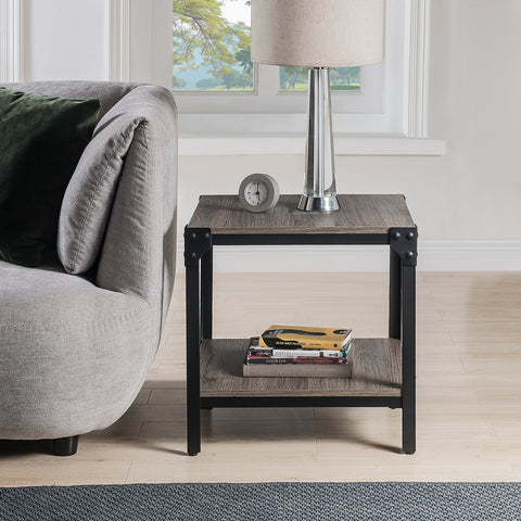 U_STYLE Rustic Farmhouse Square Wood Side End Accent Table Living Room