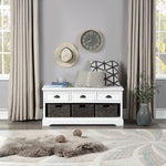 U_STYLE Homes Collection Wood Storage Bench with 3 Drawers and 3 Woven Baskets