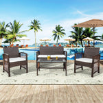 TOPMAX 4 Pieces Outdoor Furniture Rattan Chair & Table Patio Set Outdoor Sofa for Garden, Backyard, Porch and Poolside, Brown