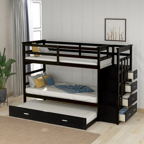 Solid Wood Bunk Bed for Kids, Hardwood Twin Over Twin Bunk Bed with Trundle and Staircase, Natural Espresso Finish