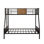 Twin-over-full bunk bed modern style steel frame bunk bed with safety rail, built-in ladder for bedroom, dorm, boys, girls, adults