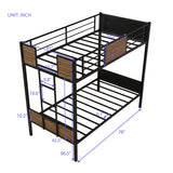 Twin-over-twin bunk bed modern style steel frame bunk bed with safety rail, built-in ladder for bedroom, dorm, boys, girls, adults