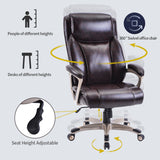 Homeoffice High-Back PU Leather Chair with Casters, Swivel, Adjustable Office Desk Chair(champagne