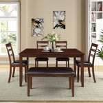 6pc Dining Set with 4 Ladder Chairs and Bench, Walnut