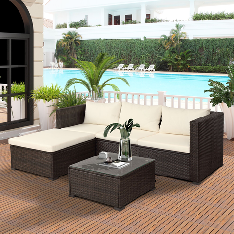 5 PC Outdoor Rattan Patio Wicker Sectional Set With Beige Seat and Back Cushions, Tempered Glass Table Top