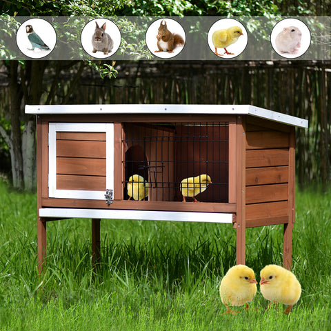 TOPMAX Pet Rabbit Bunny Wood House Small Animal Chick Hutch with ABS Tray, Auburn