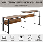 Home Office Two Person Desk, Double Workstation Office Desk Writing Study Desk ,94.4 x 19.7 inch Extra Large Computer Desk with Open Storage Shelves(Brown)