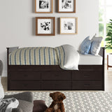 Solid Wood Captain Bed with Trundle and Drawers, Espresso